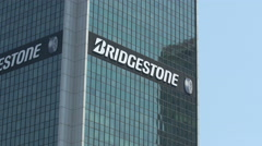 Bridgestone Tyres logo on Centrum LIM skyscraper in Warsaw Stock Footage