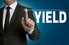 Yield written by businessman background concept Stock Photos
