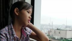 Sadness Asian Girl, Depressed Youth, Feelings, Tilt up shot - stock footage