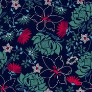 Tropical embroidery lush floral design in a seamless pattern Stock Illustration