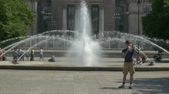 Fountain near Palac Kultury i Nauki in Warsaw Stock Footage