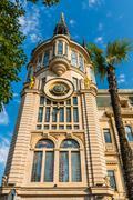 Beautiful historical building with astronomical clock in Batumi, Georgia - stock photo