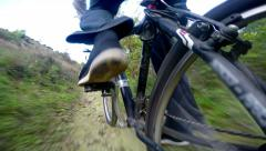 POV Extreme Mountain Biking low angle view Stock Footage