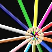 Colored pencils or crayons isolated on black background - close up - stock illustration