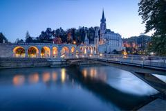 Sanctuary of Our Lady of Lourdes at Blue Hour - stock photo