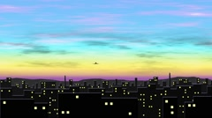 The plane flies up over the city early in the morning Stock Footage