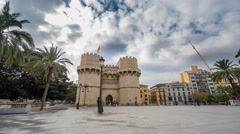 Towers of Serranos Time Lapse in Valencia . Spain. Stock Footage