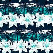 Tropical frangipani with palms and stripes seamless pattern - stock illustration