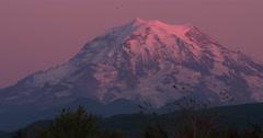 Mount Rainier at sunset Stock Footage