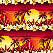 Tropical golden sunset with hibiscus flowers seamless pattern Stock Illustration