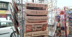 Front covers at press kiosk of German newspapers Stock Footage