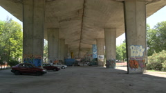 Under a bridge in Warsaw Stock Footage