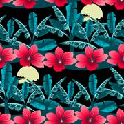 Tropical hibiscus and palm tree at night seamless pattern - stock illustration