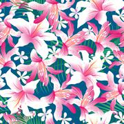 Stock Illustration of Tropical hibiscus floral 3 seamless pattern
