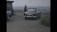 Vintage 16mm film, 1965, Scotland, Triumph TR4a car, b-roll, 2 shots Stock Footage