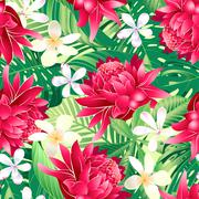 Tropical hibiscus floral 7 seamless pattern - stock illustration