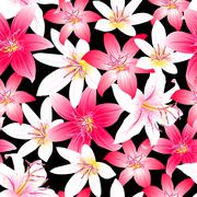 Stock Illustration of Tropical hibiscus red and pink floral design seamless pattern