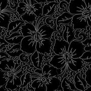 Stock Illustration of Tropical hibiscus with black background seamless pattern