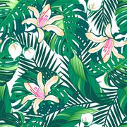 Tropical lush flowers seamless pattern on a white background Stock Illustration