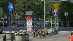 Veturilo bike sharing station on a street in Warsaw Stock Footage