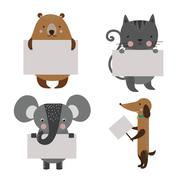 Wild animal zoo banner vector cartoon set - stock illustration