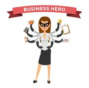 Superhero business woman vector - stock illustration