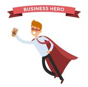 Superhero business man in action vector - stock illustration