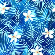 Tropical palms seamless pattern in blue with Frangipani flower - stock illustration