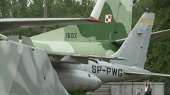 Plane's vertical and horizontal stabilizers at Polish Army Museum, Warsaw Stock Footage