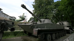 Old tanks and aircafts at Polish Army Museum, Warsaw Stock Footage