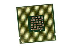 Computer processor chip (CPU) isolated on white background - stock photo