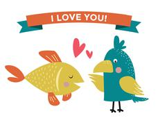 Stock Illustration of Cute cartoon animals couples fall in love banner vector illustration