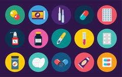 Pills capsules icons vector flat set. Medical vitamin pharmacy illustration Stock Illustration