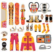 Stock Illustration of Snowboard sport clothes and tools elements
