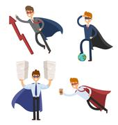 Superhero business man and woman in action vector set - stock illustration