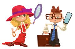 Cartoon boy and girl dressed like mother, father - stock illustration
