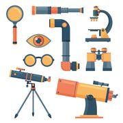 Optical tools collection isolated - stock illustration
