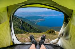 Stock Photo of View from inside a tent on a beautiful pond in Macedonia