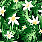 Tropical lush flowers seamless pattern on a white background - stock illustration
