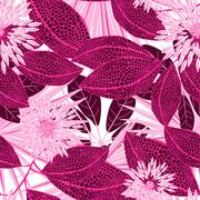 Tropical pink spotted flowers in a seamless pattern - stock illustration