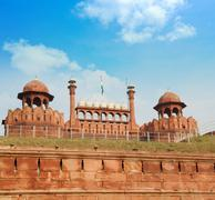 The Red Fort Delhi India - stock photo