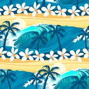 Tropical surfing with palm trees seamless pattern - stock illustration