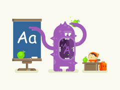 Cartoon monster teaches alphabet - stock illustration