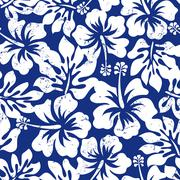 Tropical weathered hibiscus seamless pattern - stock illustration
