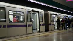 Arrival of the train subway station with sound, Sofia, Bulgaria Stock Footage