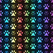 Stock Illustration of Animal seamless spectrum pattern of paw footprint