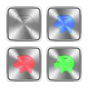 Color piggy bank steel buttons - stock illustration