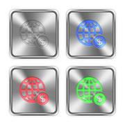 Stock Illustration of Color online payment steel buttons
