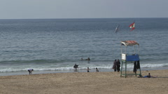 Women and children in the sea in Beirut Stock Footage