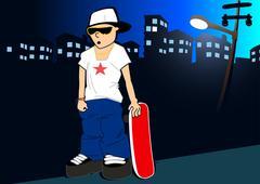 Urban skater with skateboard under street light Stock Illustration